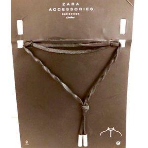 Zara Black Leather Choker w Silver Accents NWT